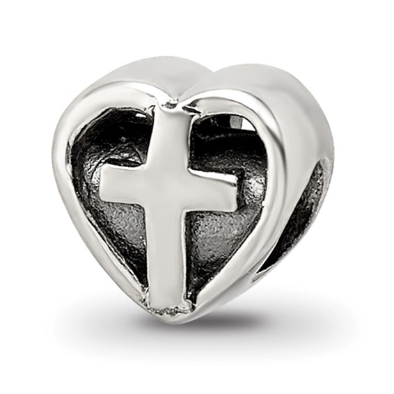 Sterling Silver Reflections Kids Heart with Cross Bead