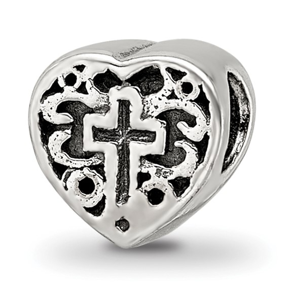 Sterling Silver Reflections Kids Heart with Cross and Scroll Bead