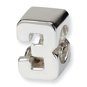 Sterling Silver Reflections Kids Numeral 3 Bead