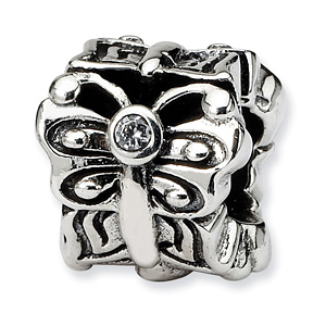 Sterling Silver Reflections Butterfly with CZ Bali Bead