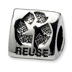 Sterling Silver Reflections Green Earth Trilogy Bead