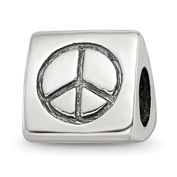 Sterling Silver Reflections Peace Smiley Face and Heart Trilogy Bead