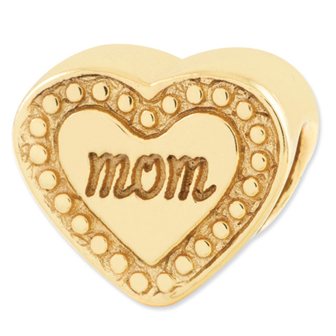 Sterling Silver Gold-plated Reflections Mom Heart Bead