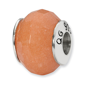 Sterling Silver Reflections Peach Quartz Stone Bead