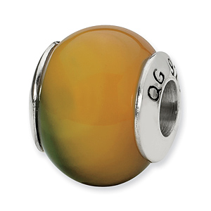 Sterling Silver Reflections Yellow-Green Agate Stone Bead