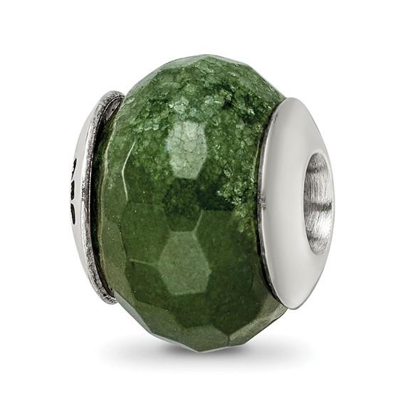 Sterling Silver Reflections Dark Green Quartz Stone Bead