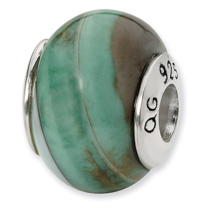 Sterling Silver Reflections Light Blue Agate Stone Bead