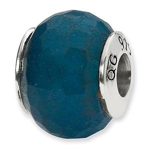Sterling Silver Reflections Medium Blue Quartz Stone Bead