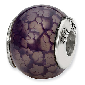 Sterling Silver Reflections Purple Cracked Agate Stone Bead