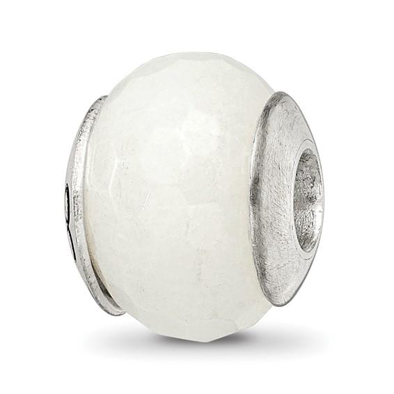 Sterling Silver Reflections White Quartz Stone Bead