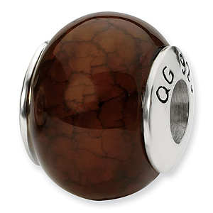 Sterling Silver Reflections Brown Cracked Agate Stone Bead