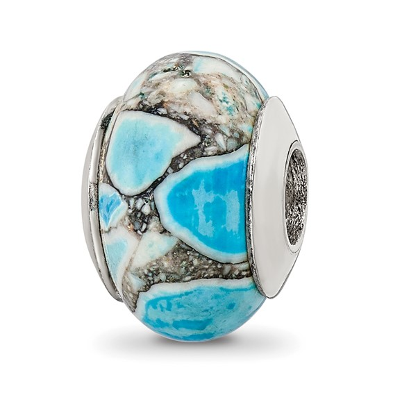 Sterling Silver Reflections Blue Mosaic Magnasite Stone Bead