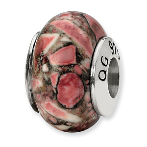 Sterling Silver Reflections Red Mosaic Magnasite Stone Bead