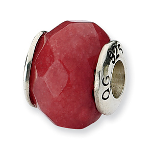 Sterling Silver Reflections Red Quartz Stone Bead