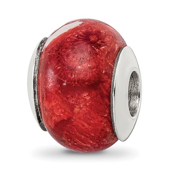 Sterling Silver Reflections Bamboo Coral Stone Bead