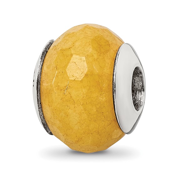 Sterling Silver Reflections Yellow Quartz Stone Bead