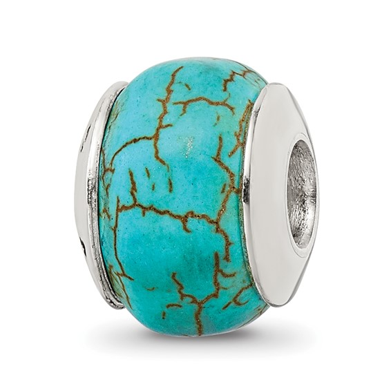 Sterling Silver Reflections Blue Magnasite Stone Bead