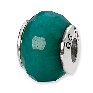 Sterling Silver Reflections Teal Quartz Stone Bead