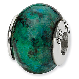 Sterling Silver Reflections Blue Green Serpentine Stone Bead