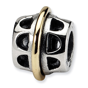 Sterling Silver & 14kt Gold Reflections Bali Bead