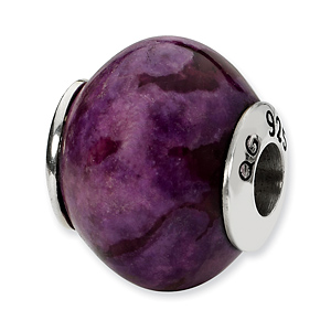 Sterling Silver Reflections Purple Magnasite Stone Bead