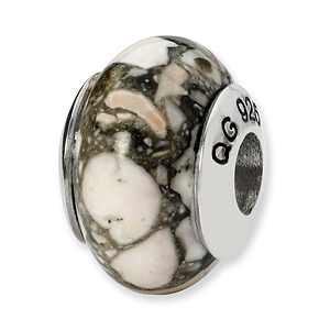 Sterling Silver Reflections White Mosaic Magnasite Stone Bead