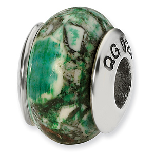 Sterling Silver Reflections Emerald Green Mosaic Magnasite Stone Bead
