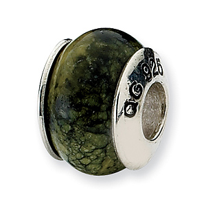 Sterling Silver Reflections Russian Serpentine Stone Bead