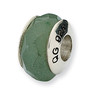 Sterling Silver Reflections Aventurine Stone Bead