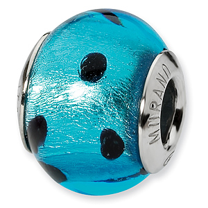 Sterling Silver Blue Black Italian Murano Bead