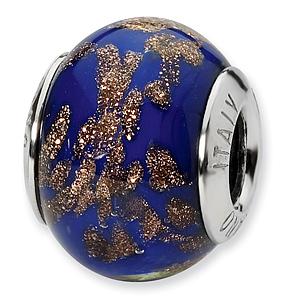 Sterling Silver Blue Gold Italian Murano Bead