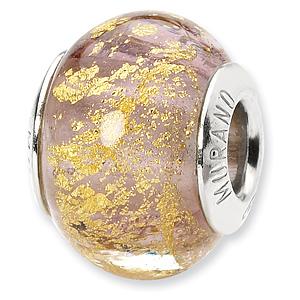 Sterling Silver Lavender Gold Italian Murano Bead