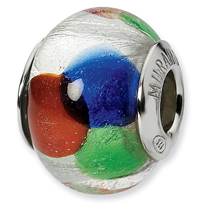 Sterling Silver White Blue Green Red Italian Murano Bead
