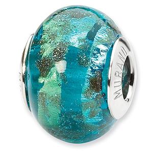 Sterling Silver Aqua Gold Accents Italian Murano Bead