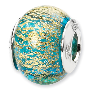 Sterling Silver Aqua and Gold Italian Murano Bead