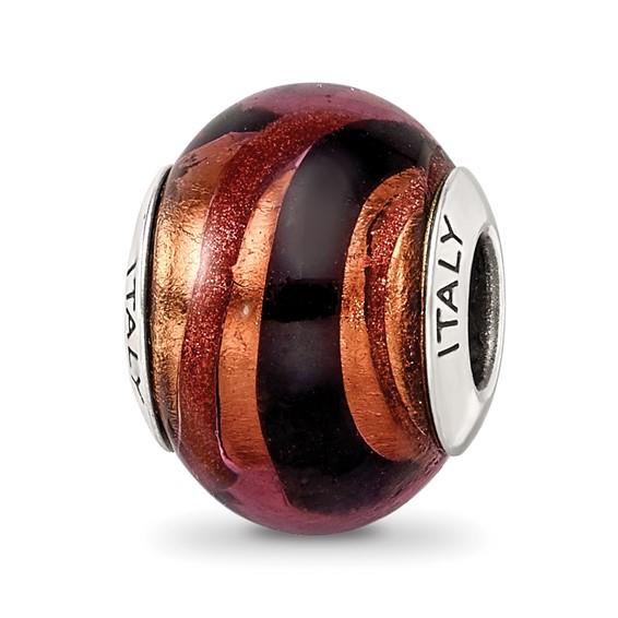 Sterling Silver Copper Black Italian Murano Bead