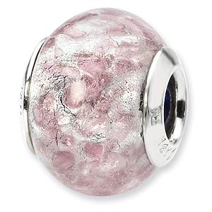 Sterling Silver White Lavender Italian Murano Bead