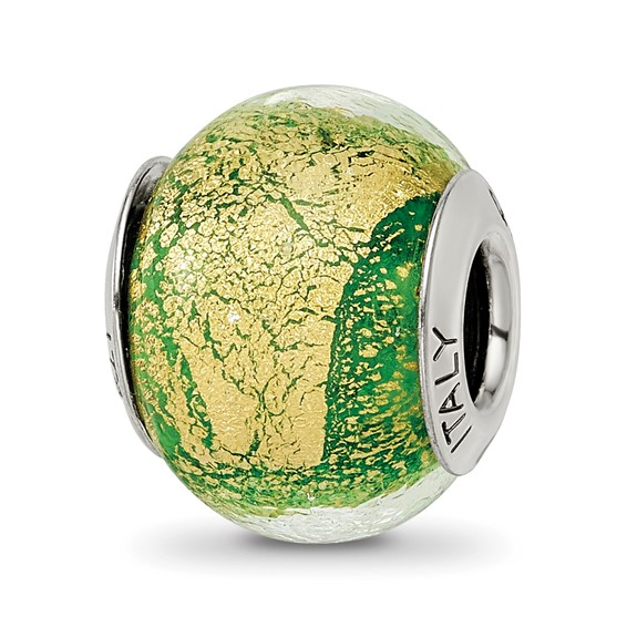 Sterling Silver Green and Gold Italian Murano Bead
