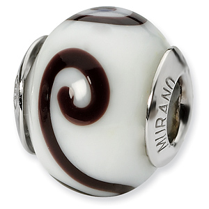 Sterling Silver White Brown Italian Murano Bead