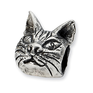 Sterling Silver Reflections Maine Coon Cat Head Bead