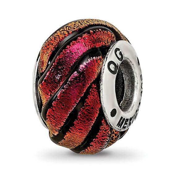Sterling Silver Reflections Orange Swirl Dichroic Glass Bead