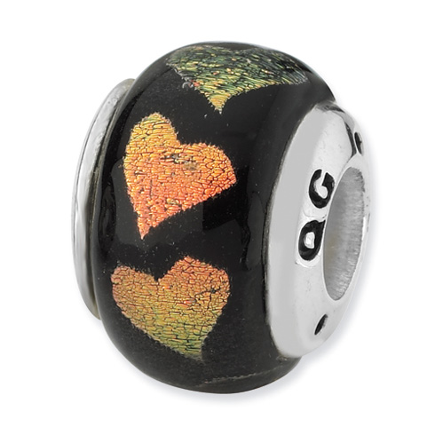 Sterling Silver Reflections Orange Green Hearts Dichroic Glass Bead