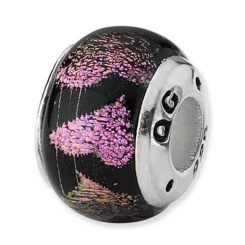 Sterling Silver Reflections Pink Purple Hearts Dichroic Glass Bead