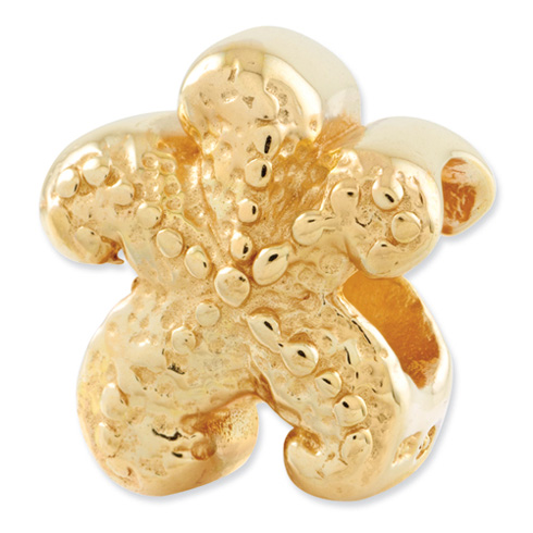 Sterling Silver Gold-plated Reflections Starfish Bead