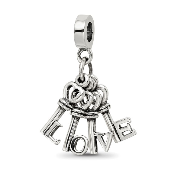 Sterling Silver Reflections Love Keys Dangle Bead