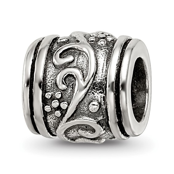 Sterling Silver Reflections Abstract Floral Bead