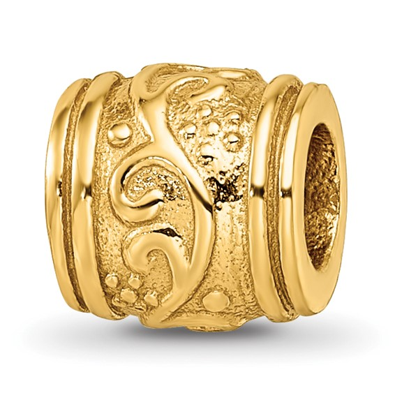 Sterling Silver Gold-plated Reflections Floral Grooved Bead