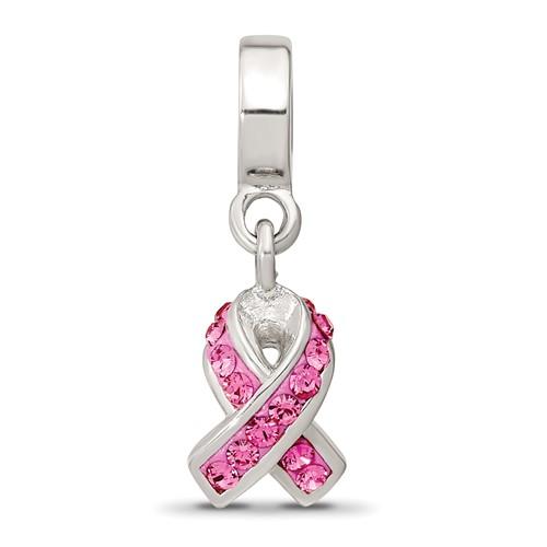Sterling Silver Reflections Pink Crystal Ribbon Awareness Dangle Bead