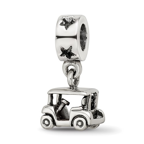 Sterling Silver Reflections Golf Cart Dangle Bead