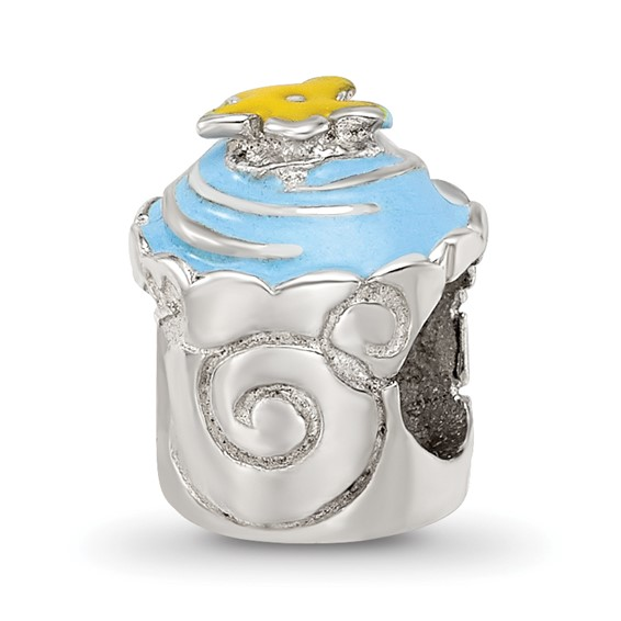 Sterling Silver Reflections Blue Enameled Cupcake Bead